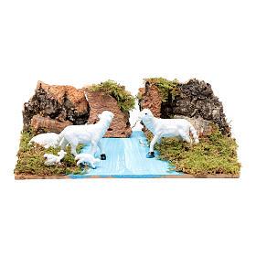 Ambientazione per presepe con pecore 5x20x15 cm s1