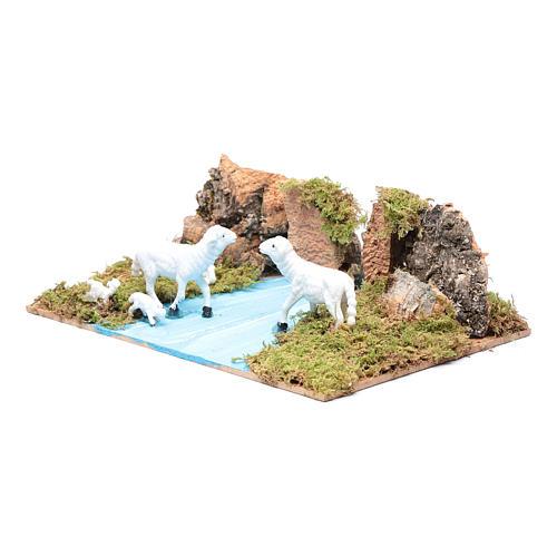 Ambientazione per presepe con pecore 5x20x15 cm 2
