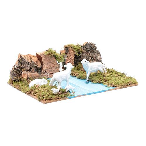 Ambientazione per presepe con pecore 5x20x15 cm 3