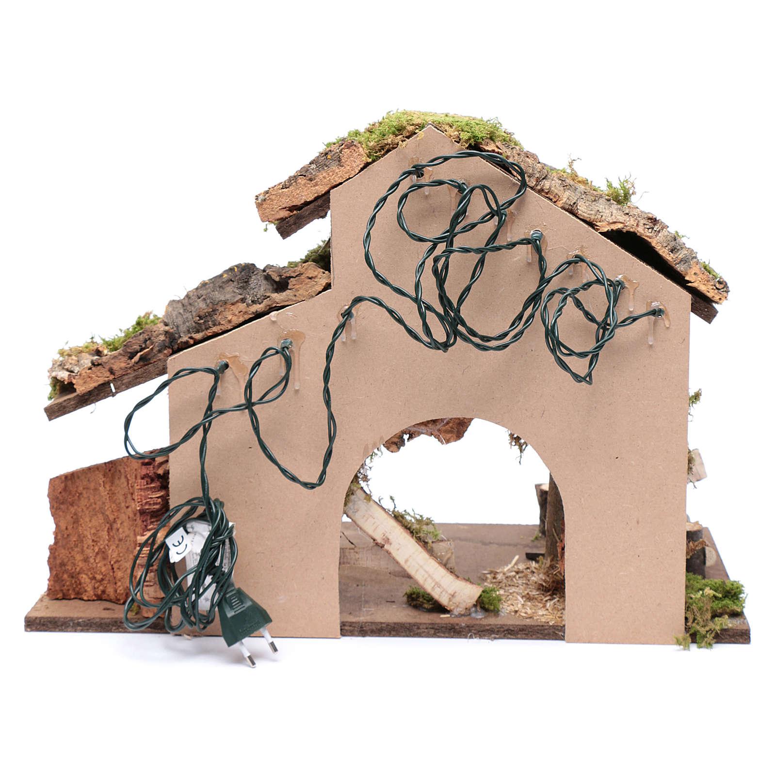 Capanna per presepe con tronchi d'albero e carretto 35x50x25 cm 4