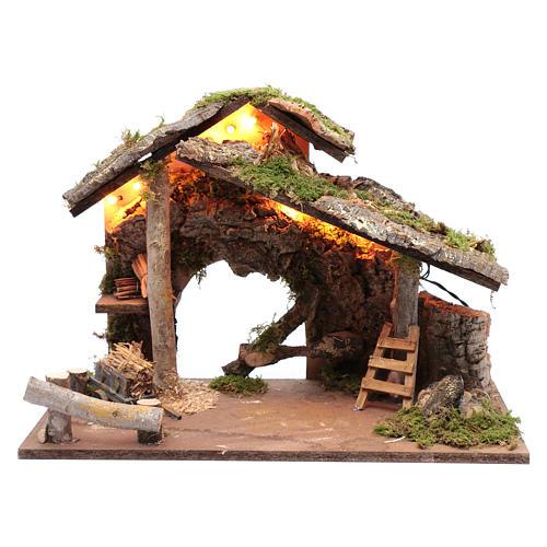 Capanna per presepe con tronchi d'albero e carretto 35x50x25 cm 1