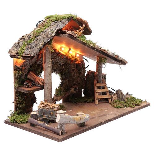 Capanna per presepe con tronchi d'albero e carretto 35x50x25 cm 3