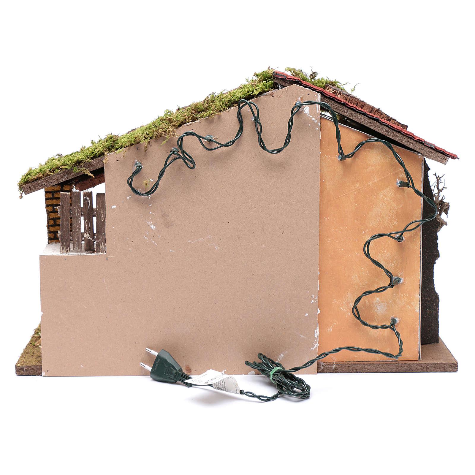 Krippenszenerie mit rotem Dach und Heuboden 35x50x25 cm 4