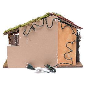 Krippenszenerie mit rotem Dach und Heuboden 35x50x25 cm s4