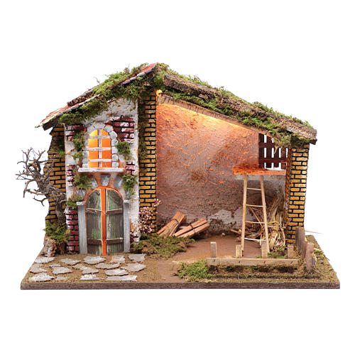 Nativity scene setting house with red roof and barn 35x50x25 cm 1