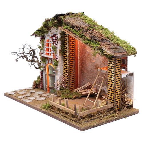 Ambientación para belén casa techo rojo y granero 35x50x25 cm 2
