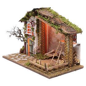 Ambientazione per presepe casa tetto rosso e fienile 35x50x25 cm s2