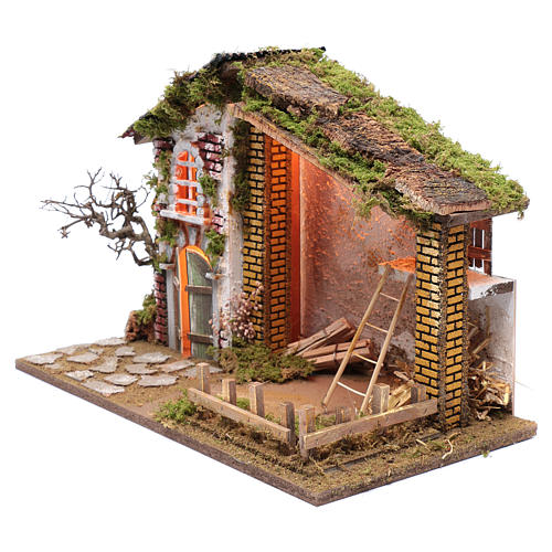 Otoczenie do szopki dom dach czerwony i zaplecze na siano 35x50x25 cm 2