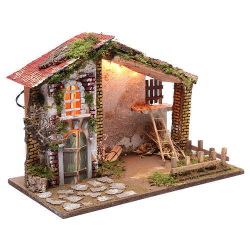 Nativity scene setting house with red roof and barn 35x50x25 cm 3