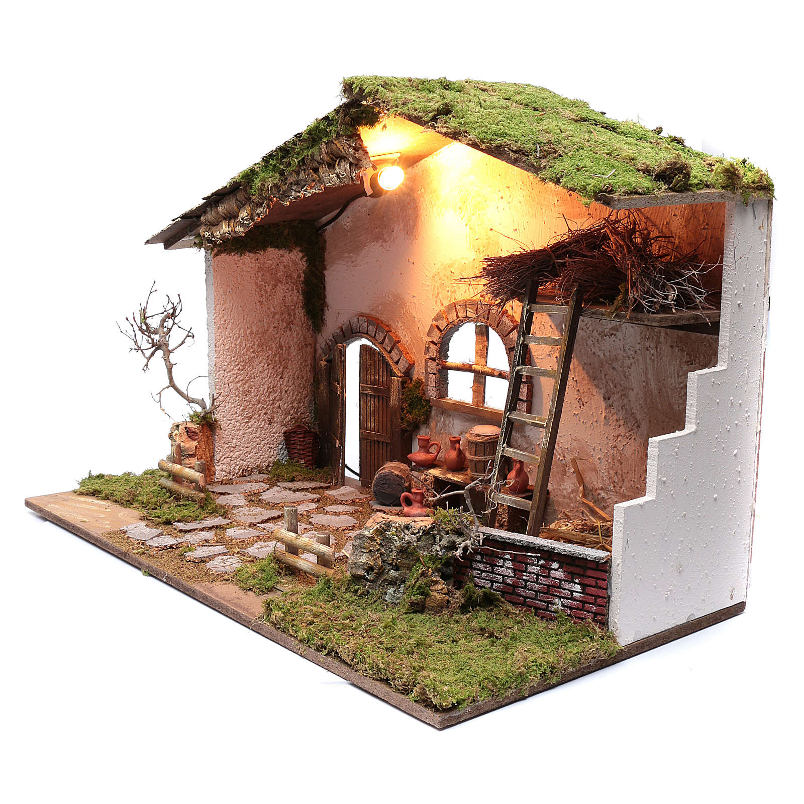 Cabane pour crèche 50x75x45 cm éclairage escalier et tonneaux 4