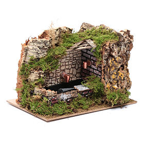 Ambientación fuente con bomba y pared rocosa 15x20x15 s3