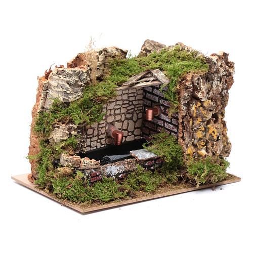Ambientación fuente con bomba y pared rocosa 15x20x15 3