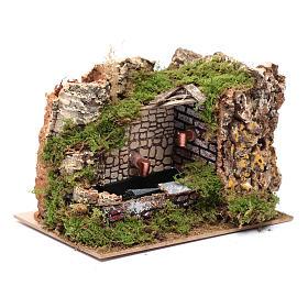 Décor fontaine avec pompe et mur rocheux 15x20x15 cm s3