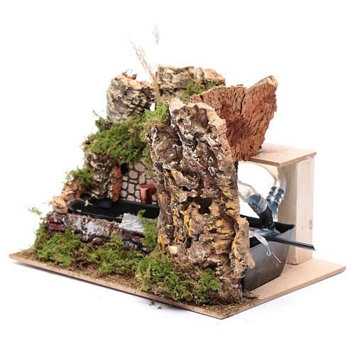 Décor fontaine avec pompe et mur rocheux 15x20x15 cm 2