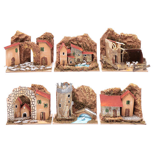 Group of little coloured houses - set of 6 pieces 15x10x10 cm 1