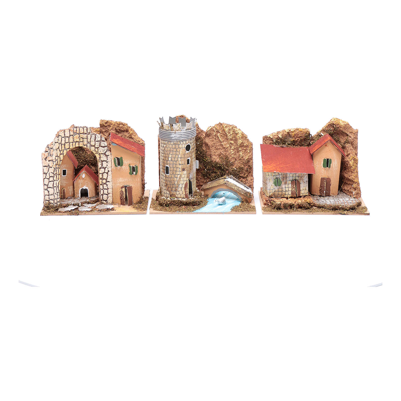 Group of little coloured houses - set of 6 pieces 15x10x10 cm 4