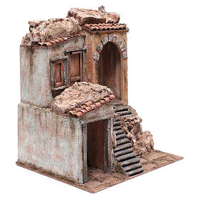 Nativity scene house with stairs and doors  40x35x30 cm s3