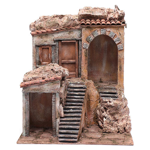 Nativity scene house with stairs and doors  40x35x30 cm 1