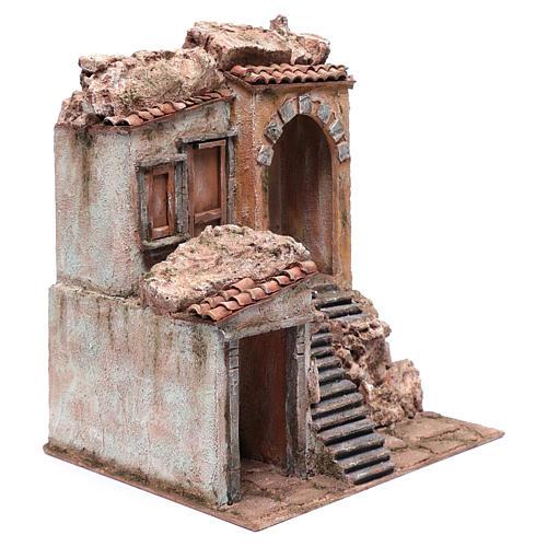 Casa presepe con scale e porte 40x35x30 cm 3