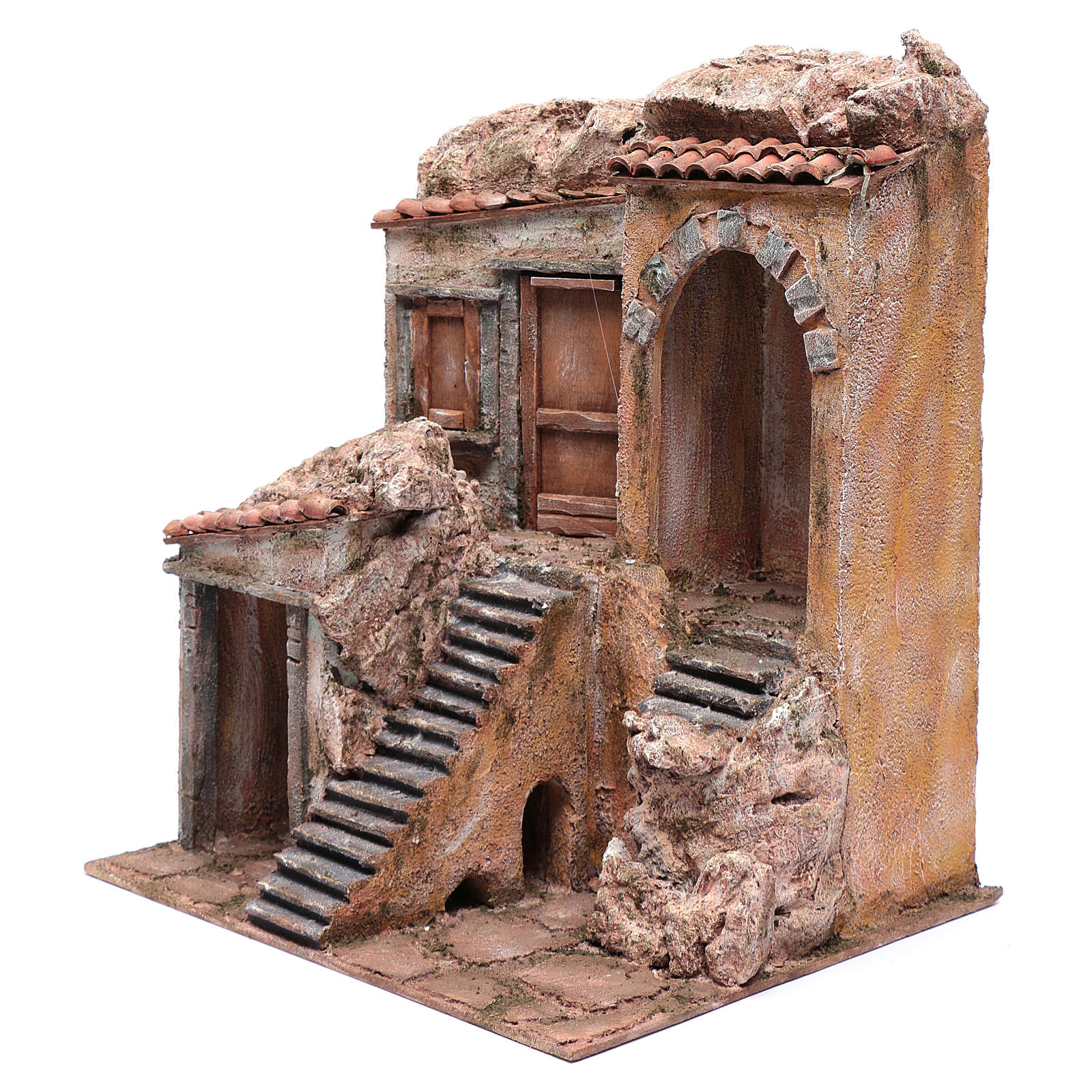 Nativity scene house with stairs and doors  40x35x30 cm 4