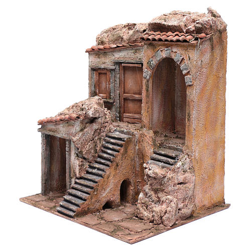 Nativity scene house with stairs and doors  40x35x30 cm 2
