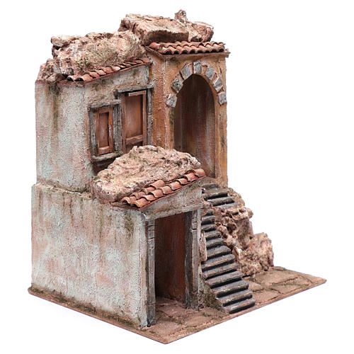 Nativity scene house with stairs and doors  40x35x30 cm 3