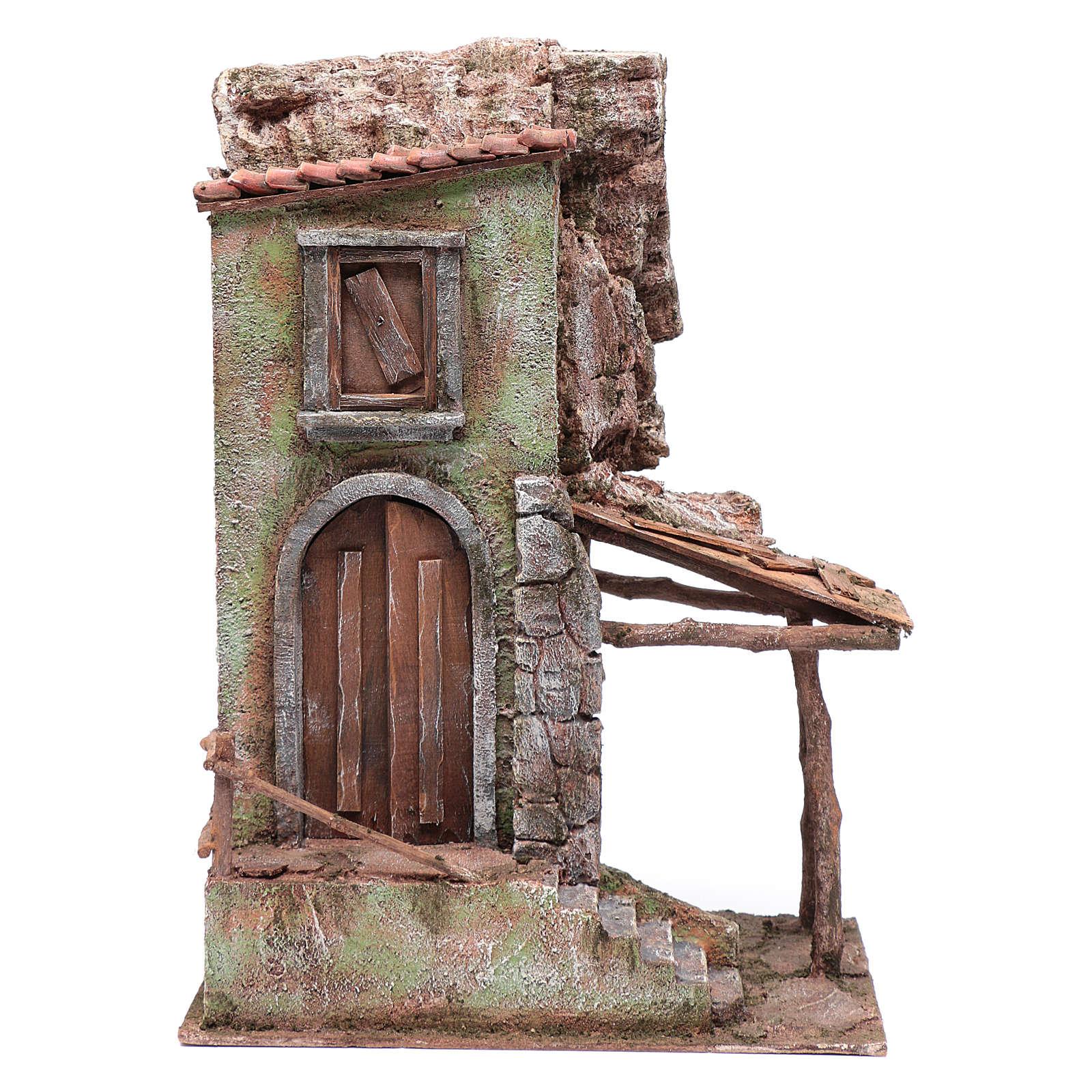 Casetta presepe con portico e scale 40x30x20 cm 4