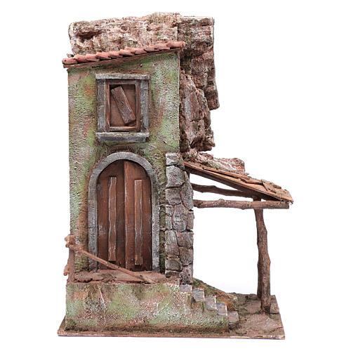 Casetta presepe con portico e scale 40x30x20 cm 1