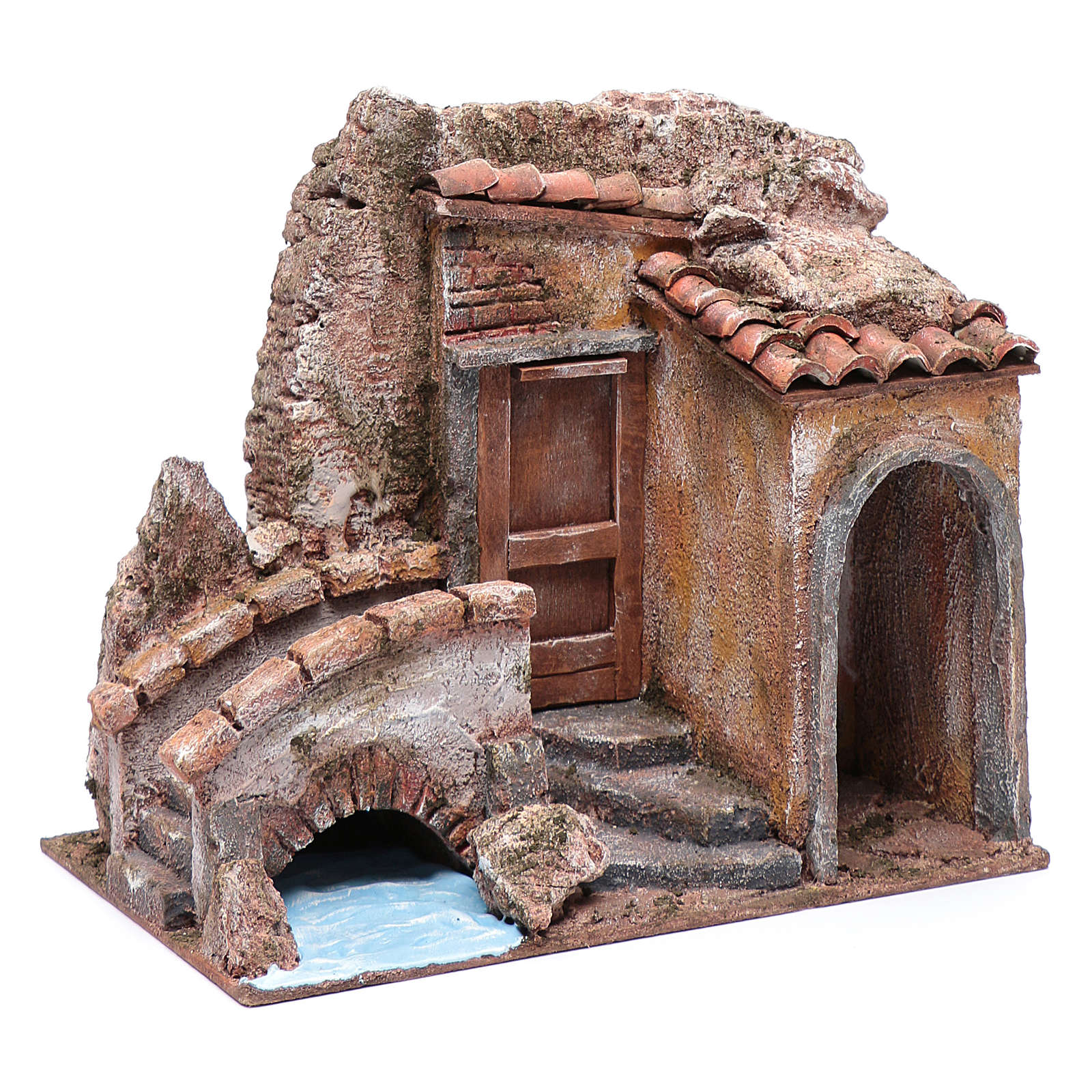 Little nativity scene house with bridge on river 20x25x15 cm 4