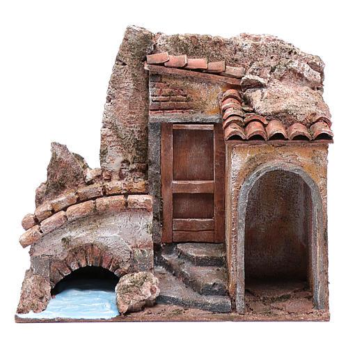 Little nativity scene house with bridge on river 20x25x15 cm 1