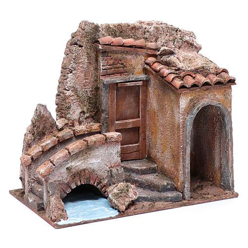 Little nativity scene house with bridge on river 20x25x15 cm 3