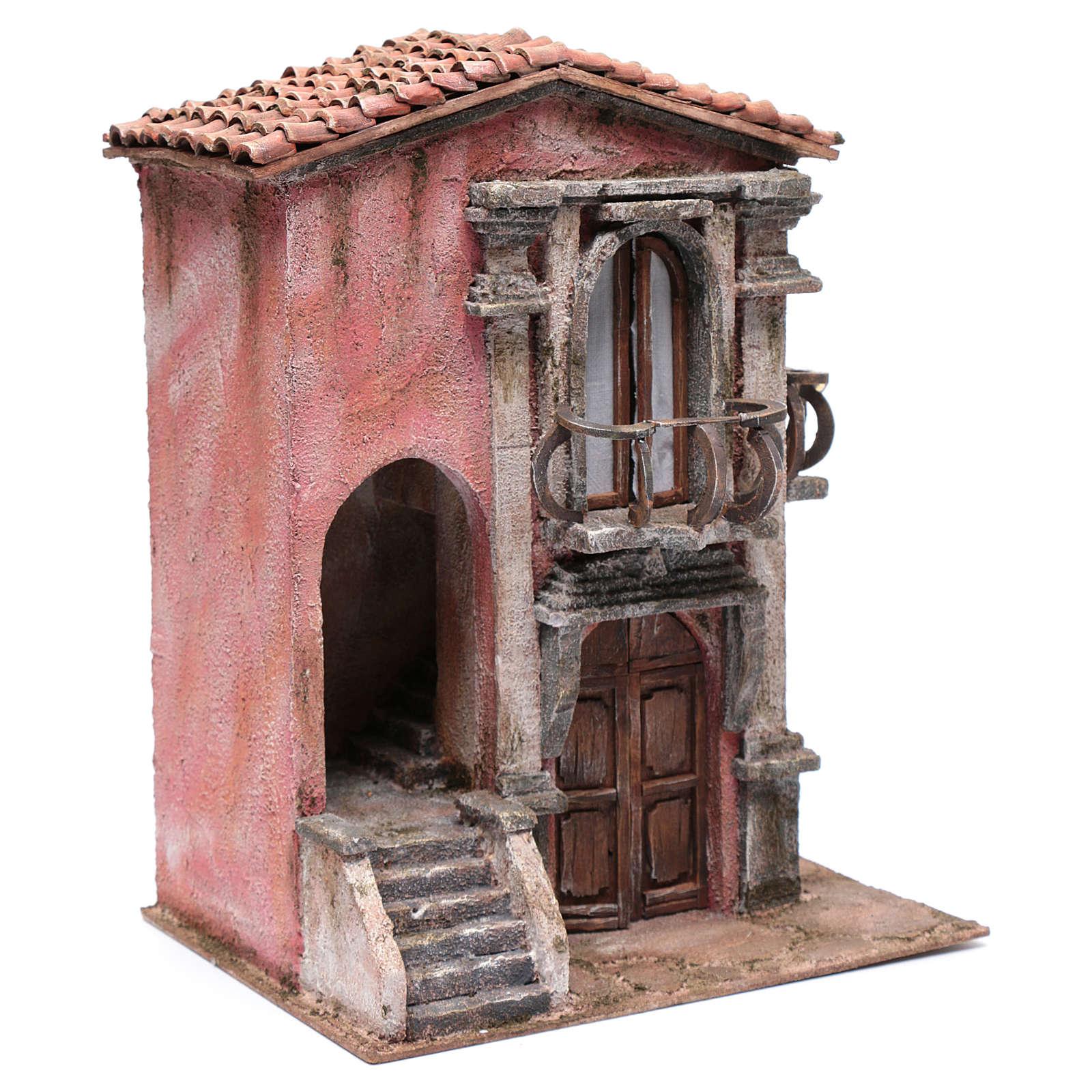 Casa presepe con scalinata 35x30x20 cm 4