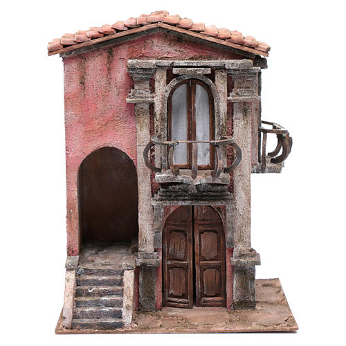 Casa presepe con scalinata 35x30x20 cm 1