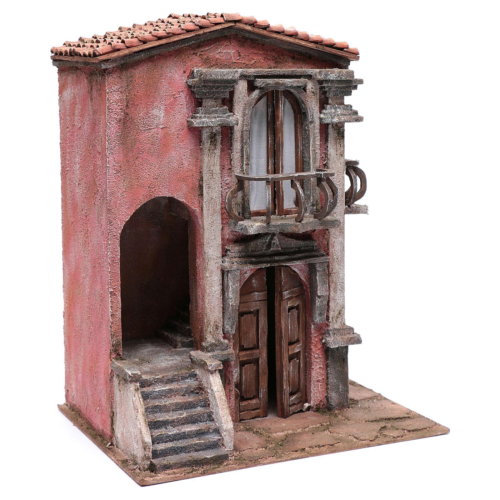 Haus für Krippe mit Treppe und Balkon 45x35x25cm 4