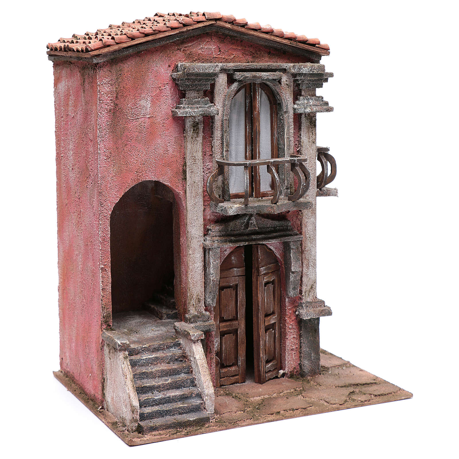 Nativity scene house with staircase and balcony 45x35x25 cm 4