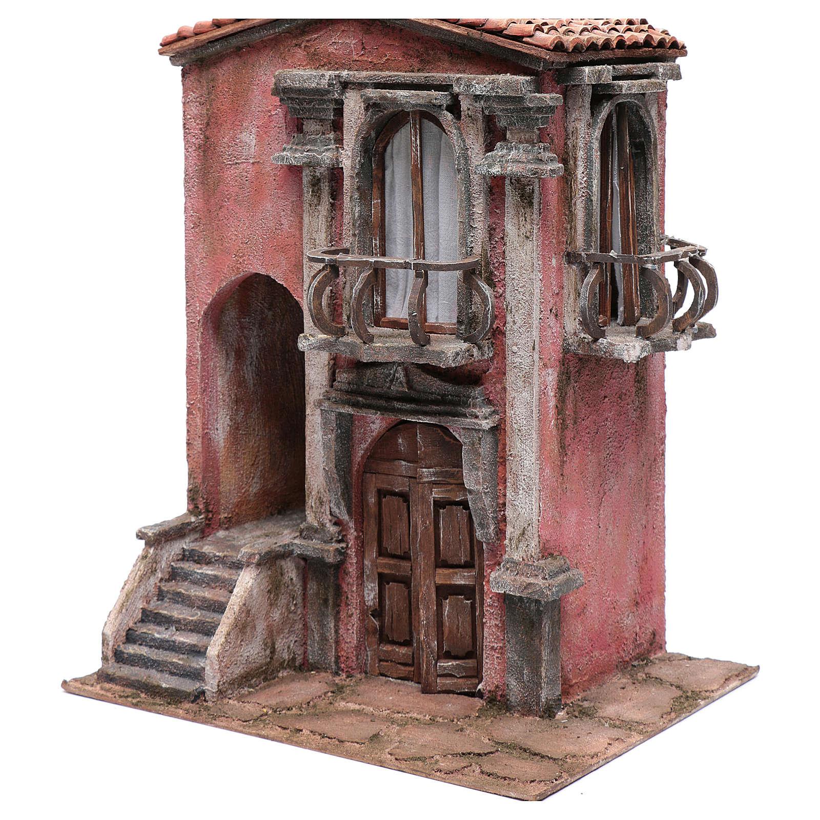 Casa de pesebre con escalinata y balcón 45x35x25 cm 4