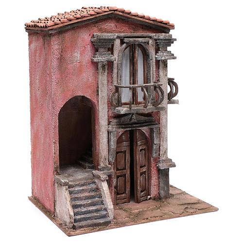 Casa de pesebre con escalinata y balcón 45x35x25 cm 3