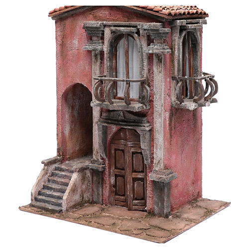 Nativity scene house with staircase and balcony 45x35x25 cm 2
