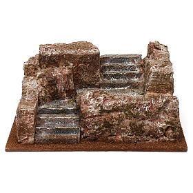 Escalier type rocheux crèche 10x24x17 cm s1