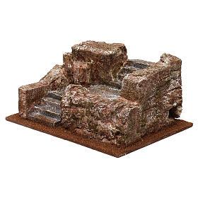 Escalier type rocheux crèche 10x24x17 cm s2
