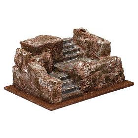 Scalinata tipo roccia presepe 10x25x15 cm s3