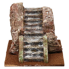 Settings, houses, workshops, wells: Ancient nativity scene staircase 10x15x20 cm