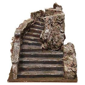 Settings, houses, workshops, wells: Nativity scene stone stairway 15x15x25 cm