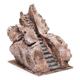 Escalier type roche vieillie crèche 20x14x19 cm s3