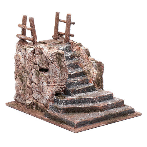 Nativity scene stairway with little square 15x15x20 cm 3