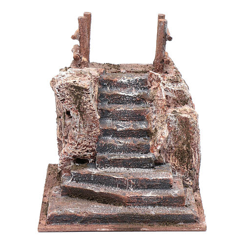 Nativity scene stairway with little square 15x15x20 cm 1