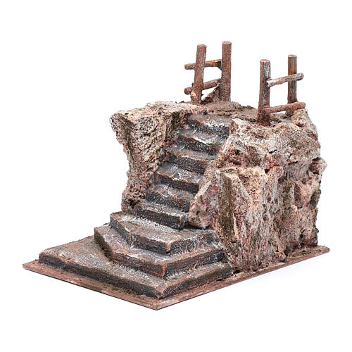Nativity scene stairway with little square 15x15x20 cm 2