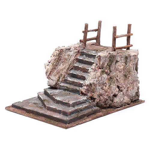 Nativity scene stairway with square 15x20x25 cm 2