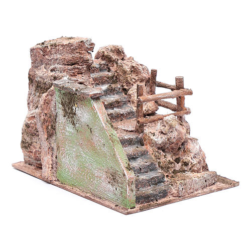 Nativity scene perched staircase 15x20x15 cm 3