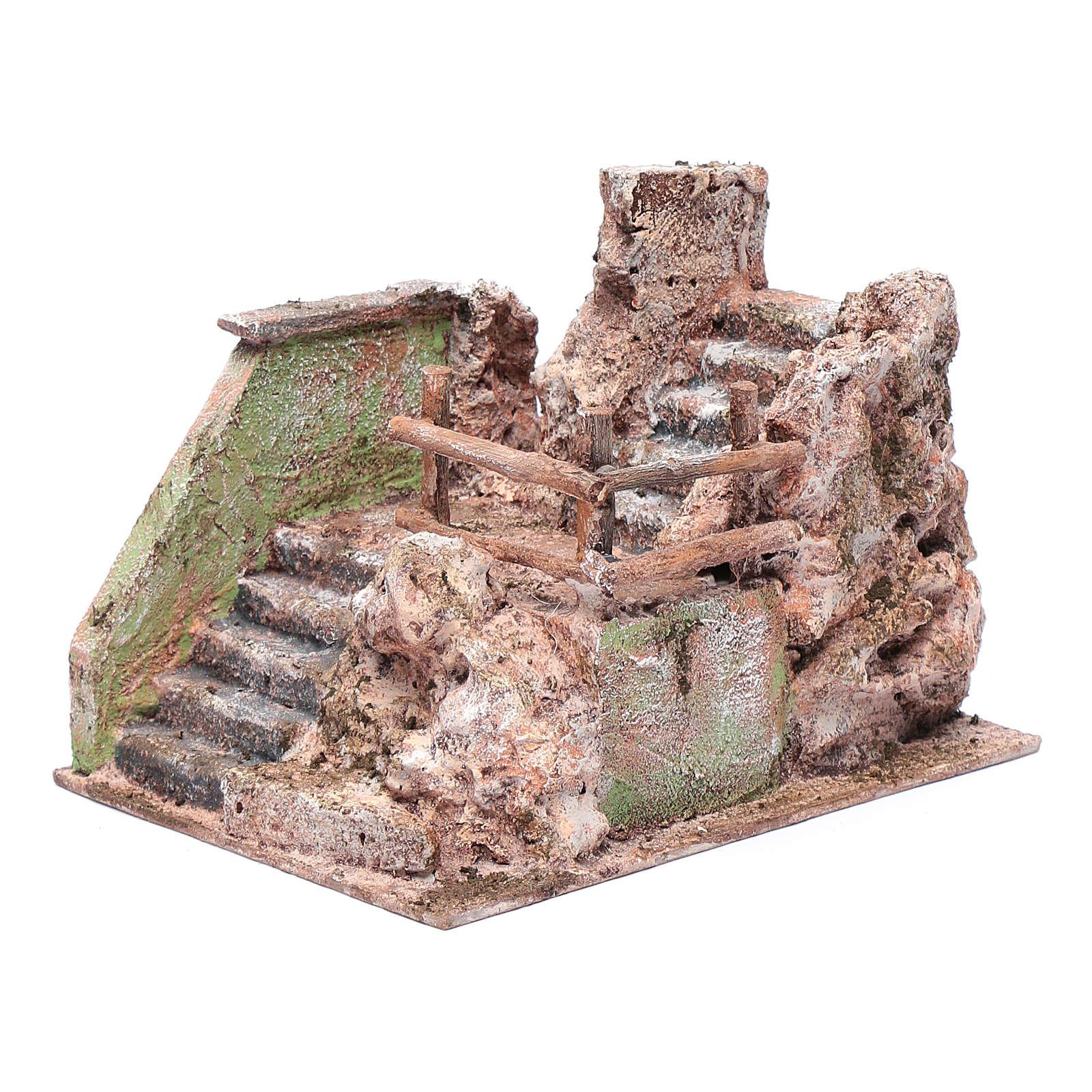 Escalier crèche en ruine 13x19x14 cm 4